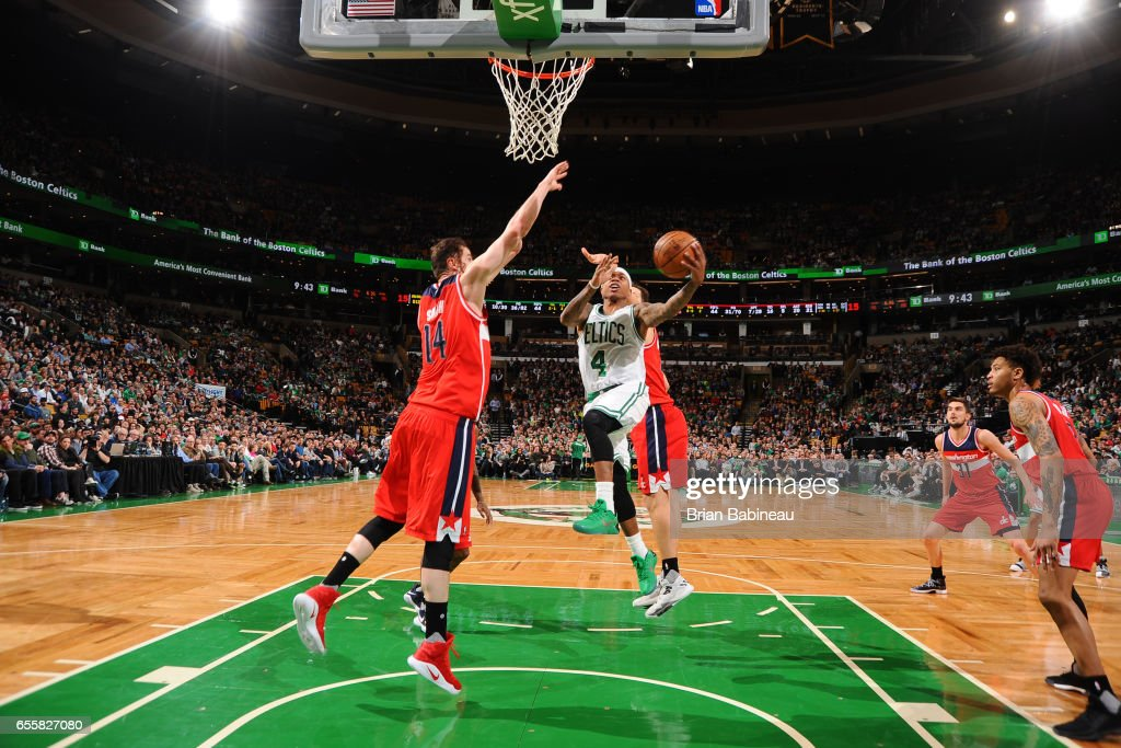 Isaiah Thomas #4 of the Boston Celtics shoots the ballagainst the Washington Wizards on March 20, 2017 at the TD Garden in Boston, Massachusetts.