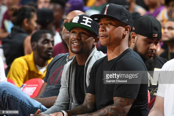Isaiah Thomas of the Boston Celtics sits next to Floyd Mayweather when the Milwaukee Bucks played the Cleveland Cavaliers on July 7 2017 at the...