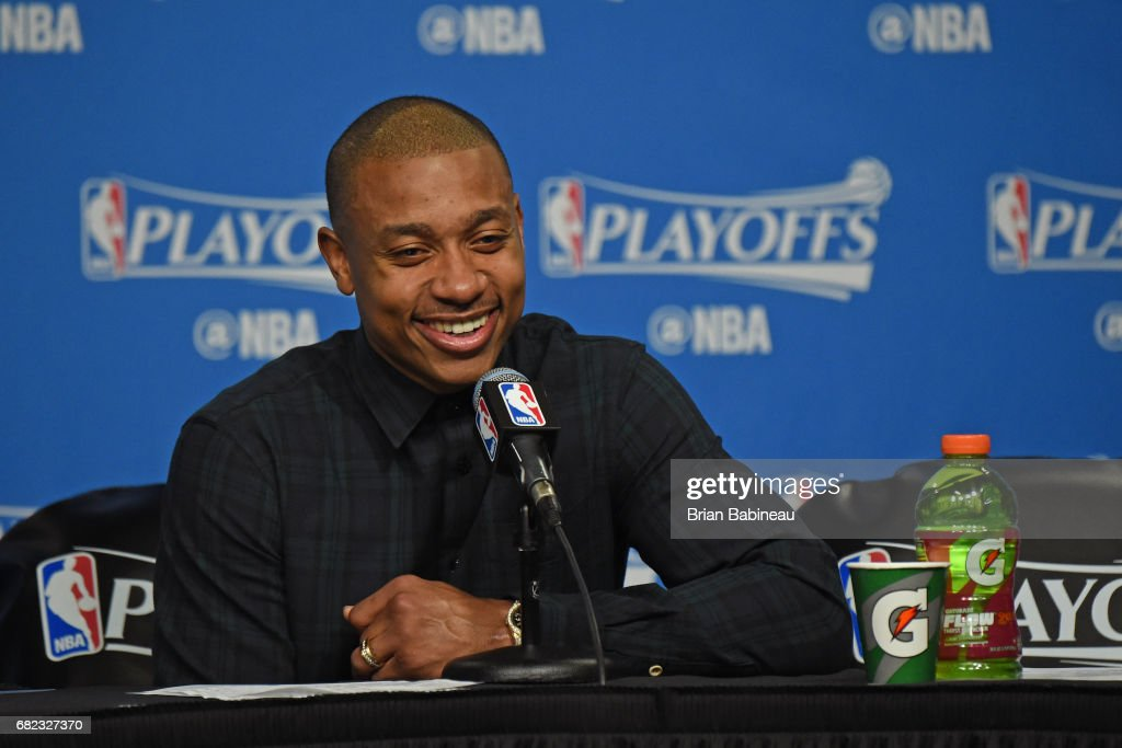 Isaiah Thomas #4 of the Boston Celtics smiles as he talks to the media during a press conference after Game Five of the Eastern Conference Semifinals against the Washington Wizards during the 2017 NBA Playoffs on May 10, 2017 at the TD Garden in Boston, Massachusetts.