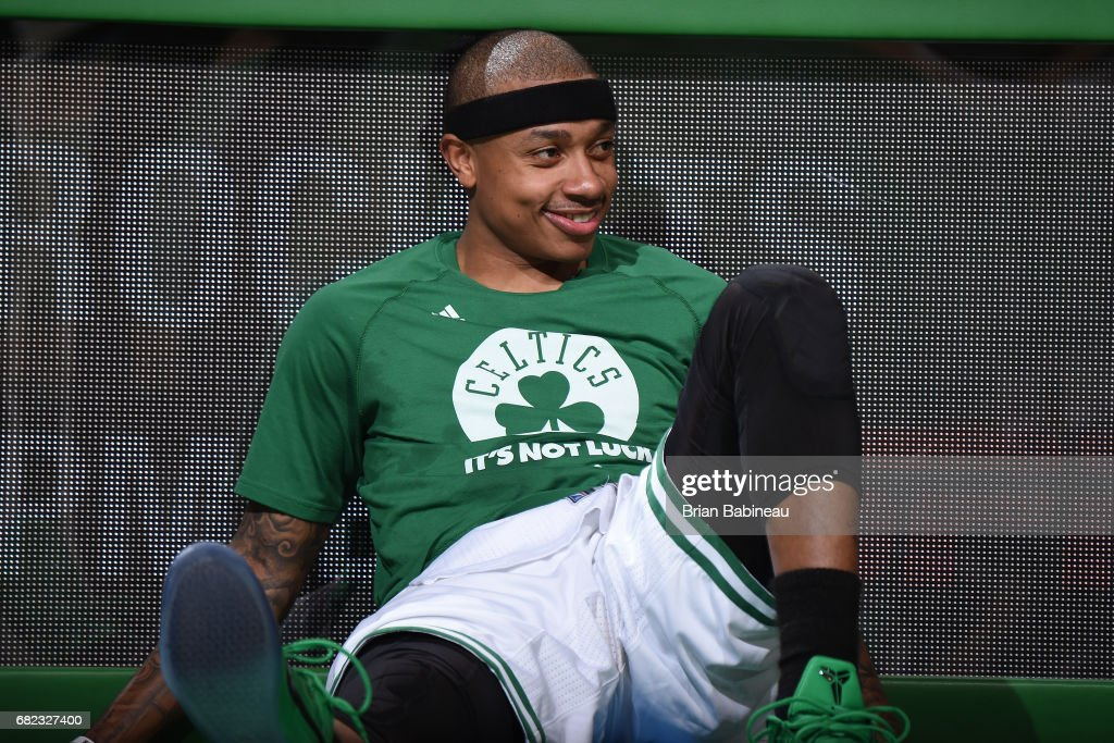 Isaiah Thomas #4 of the Boston Celtics smiles as he waits to get in Game Five of the Eastern Conference Semifinals against the Washington Wizards during the 2017 NBA Playoffs on May 10, 2017 at the TD Garden in Boston, Massachusetts.