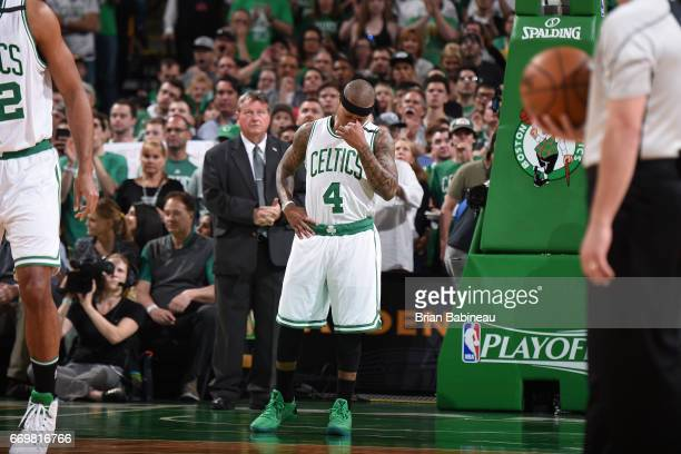 Isaiah Thomas of the Boston Celtics stands on the court before the Eastern Conference Quarterfinals game against the Chicago Bulls during the 2017...