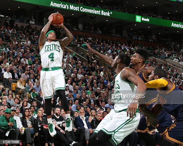 Isaiah Thomas of the Boston Celtics takes a shot against the Cleveland Cavaliers during Game Three of the Eastern Conference Quarterfinals of the...