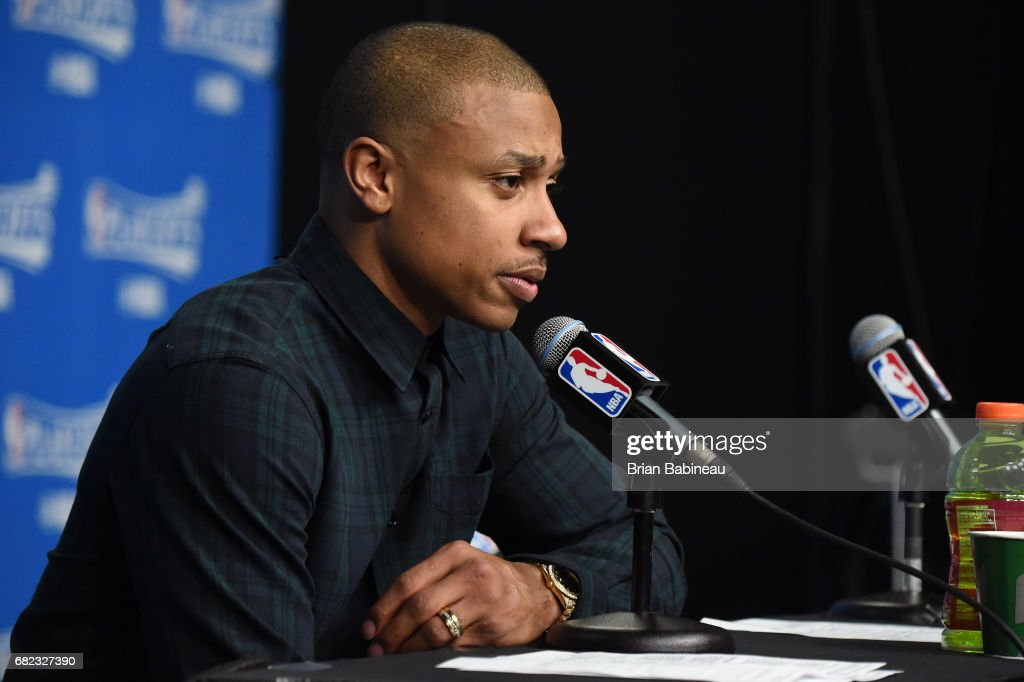 Isaiah Thomas #4 of the Boston Celtics talks to the media during a press conference after Game Five of the Eastern Conference Semifinals against the Washington Wizards during the 2017 NBA Playoffs on May 10, 2017 at the TD Garden in Boston, Massachusetts.
