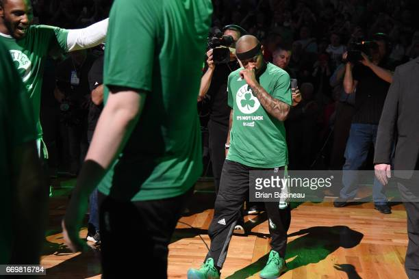 Isaiah Thomas of the Boston Celtics walks onto the court before the Eastern Conference Quarterfinals game against the Chicago Bulls during the 2017...