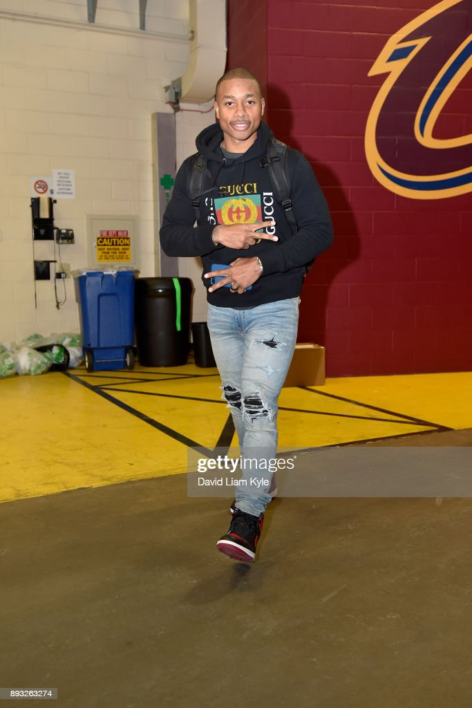 Isaiah Thomas #3 of the Cleveland Cavaliers arrives before the game against the Los Angeles Lakers on December 14, 2017 at Quicken Loans Arena in Cleveland, Ohio.