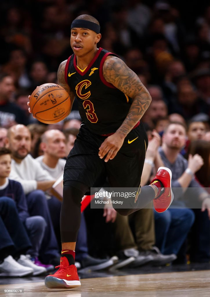 Isaiah Thomas #3 of the Cleveland Cavaliers brings the ball up court during the game against the Golden State Warriors at Quicken Loans Arena on January 15, 2018 in Cleveland, Ohio.