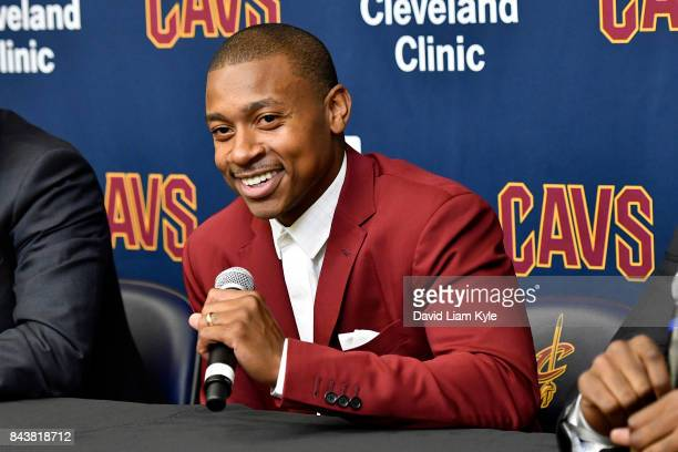 Isaiah Thomas of the Cleveland Cavaliers speaks to the media during a press conference at The Cleveland Clinic Courts on September 7 2016 in...
