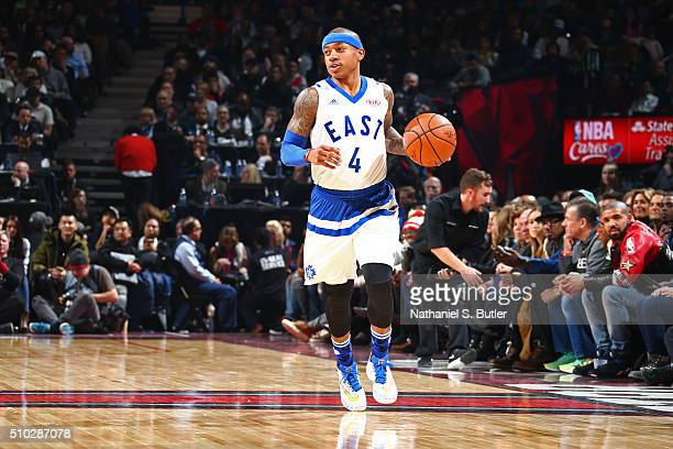Isaiah Thomas of the Eastern Conference dribbles the ball during the NBA AllStar Game as part of 2016 NBA AllStar Weekend on February 14 2016 at the...