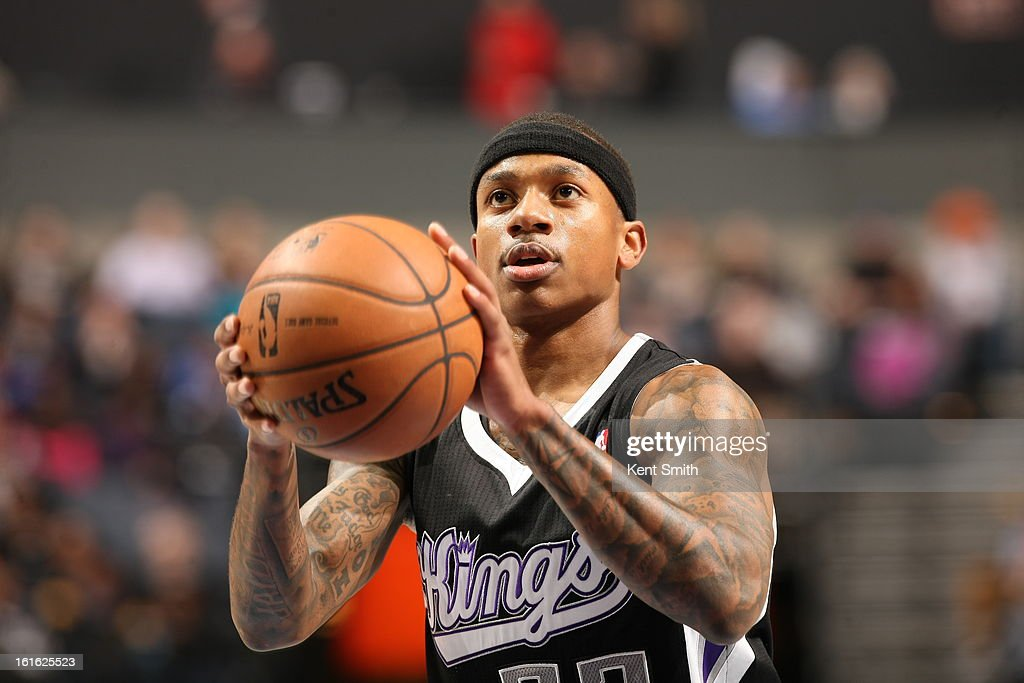 Isaiah Thomas #22 of the Sacramento Kings attempts a foul shot against the Charlotte Bobcats at the Time Warner Cable Arena on January 19, 2013 in Charlotte, North Carolina.