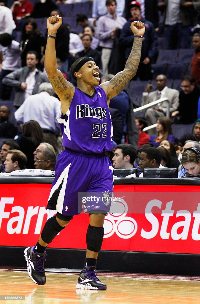Isaiah Thomas #22 of the Sacramento Kings celebrates after the Kings defeated the Washington Wizards 115-107 at Verizon Center on February 22, 2012 in Washington, DC.