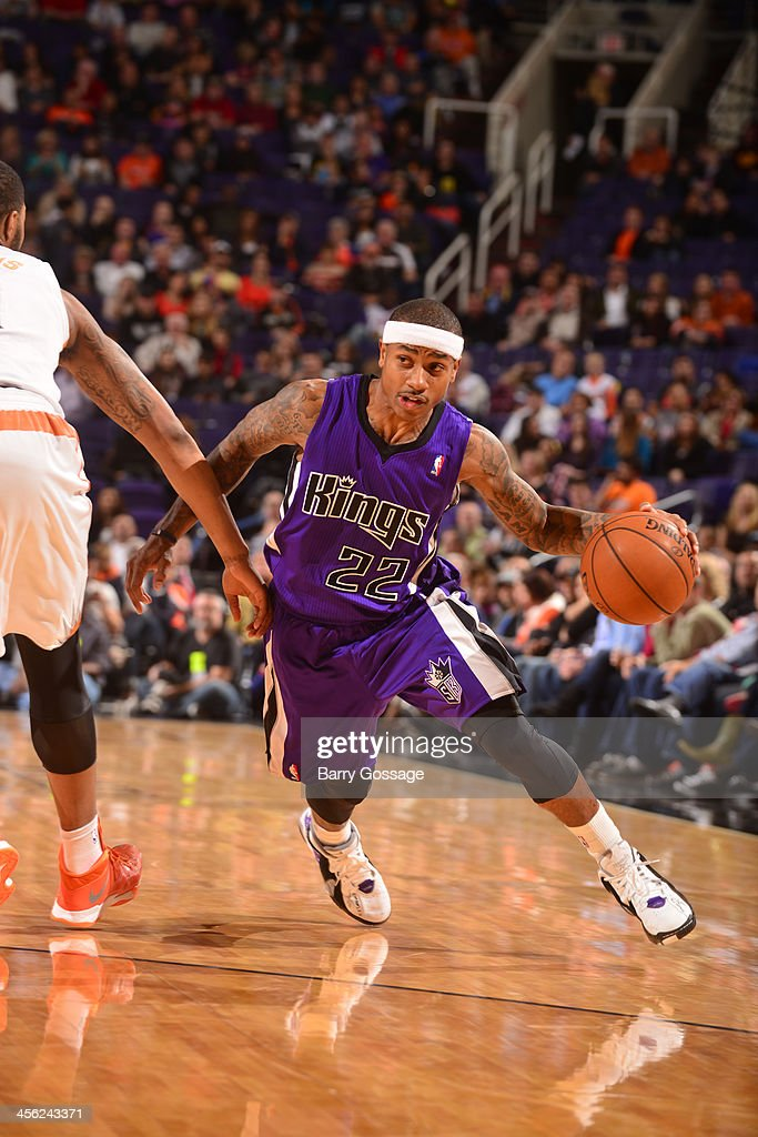 Isaiah Thomas #22 of the Sacramento Kings drives against the Phoenix Suns on December 13, 2013 at U.S. Airways Center in Phoenix, Arizona.