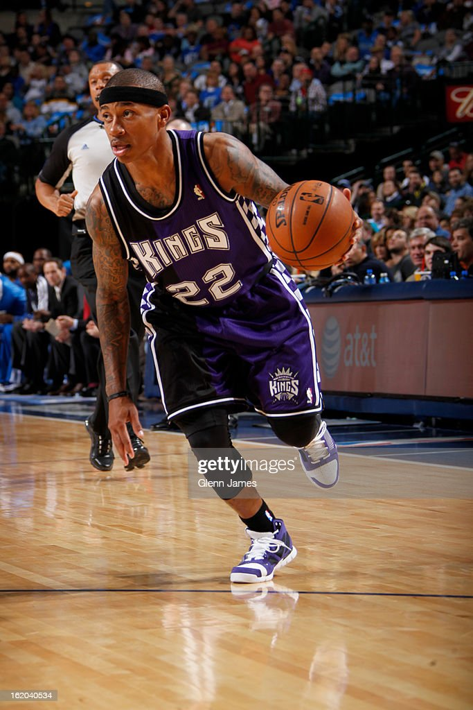 Isaiah Thomas #22 of the Sacramento Kings drives to the basket against the Dallas Mavericks on February 13, 2013 at the American Airlines Center in Dallas, Texas.