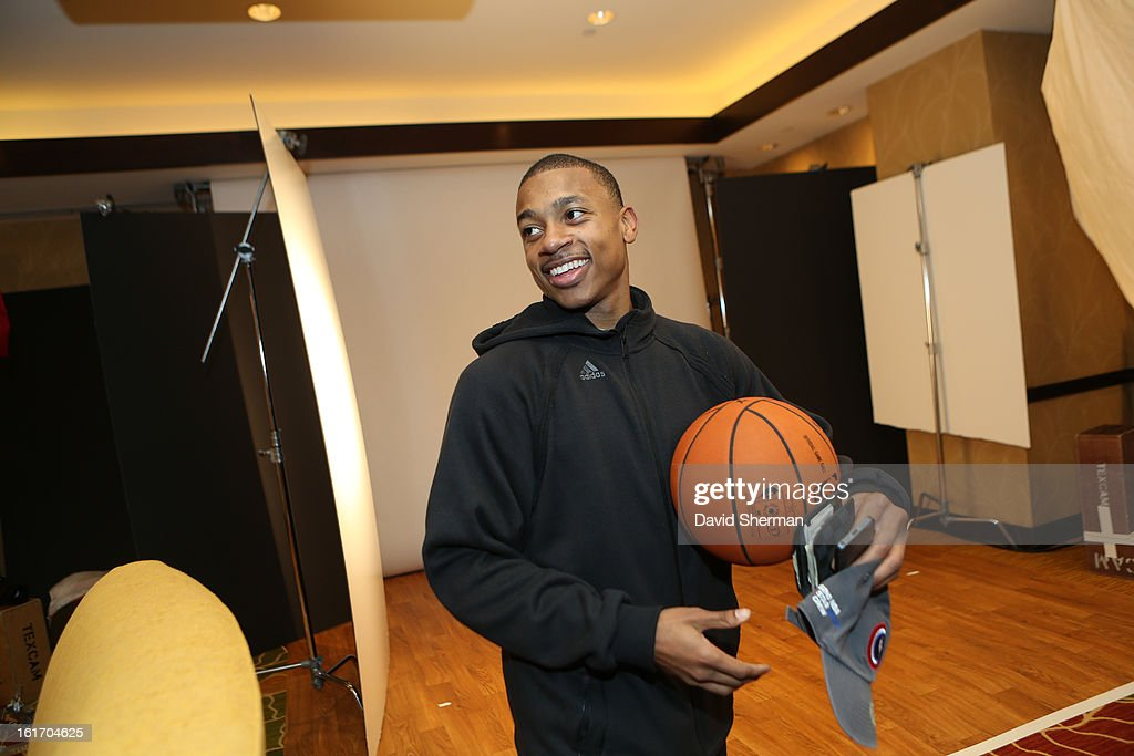 Isaiah Thomas of the Sacramento Kings goes to take some portraits during the NBAE Circuit as part of the 2013 NBA All-Star Weekends at the Hilton Americas Hotel on February 14, 2013 in Houston, Texas.