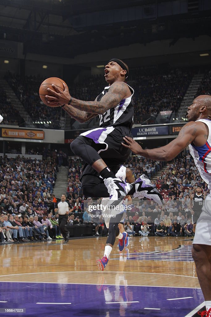 Isaiah Thomas #22 of the Sacramento Kings goes to the basket against the Los Angeles Clippers on April 17, 2013 at Sleep Train Arena in Sacramento, California.