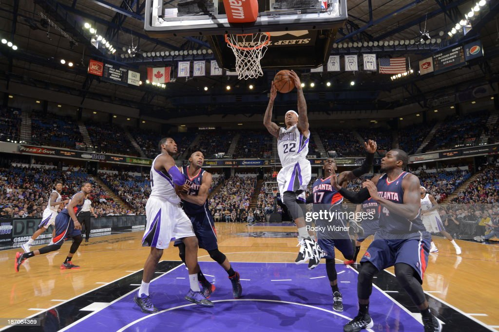 Isaiah Thomas #22 of the Sacramento Kings goes to the basket against the Atlanta Hawks at Sleep Train Arena on November 5, 2013 in Sacramento, California.