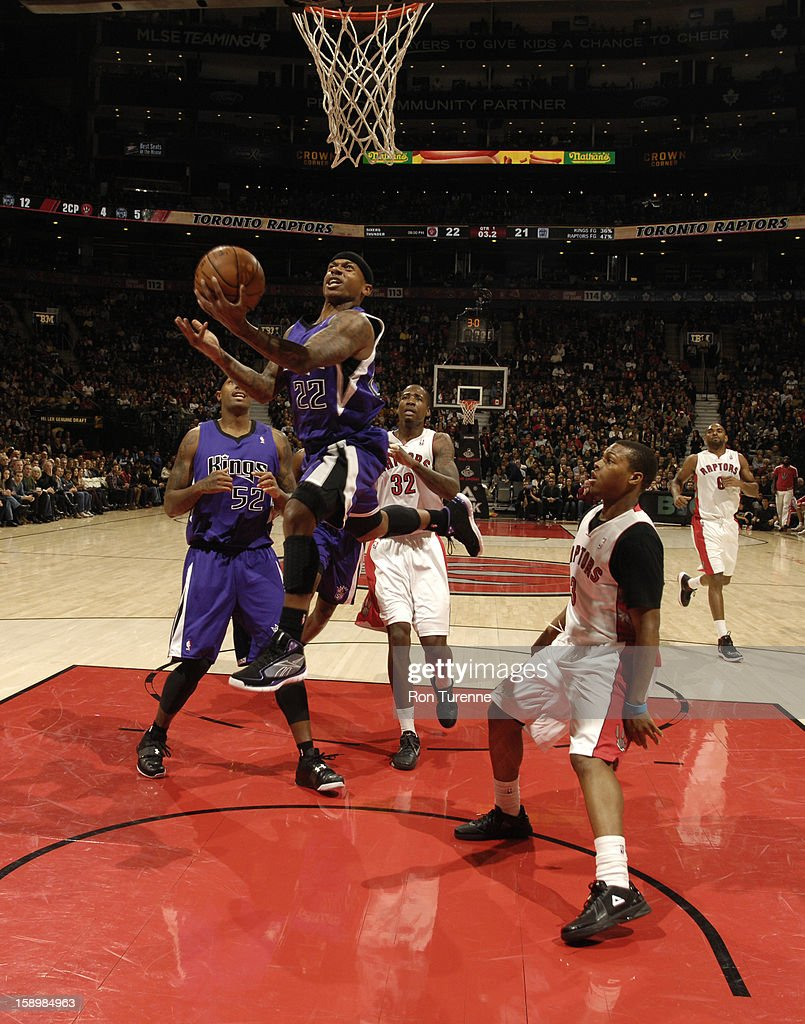 Isaiah Thomas #22 of the Sacramento Kings goes up for the layup against the Toronto Raptors during the game on January 4, 2013 at the Air Canada Centre in Toronto, Ontario, Canada.