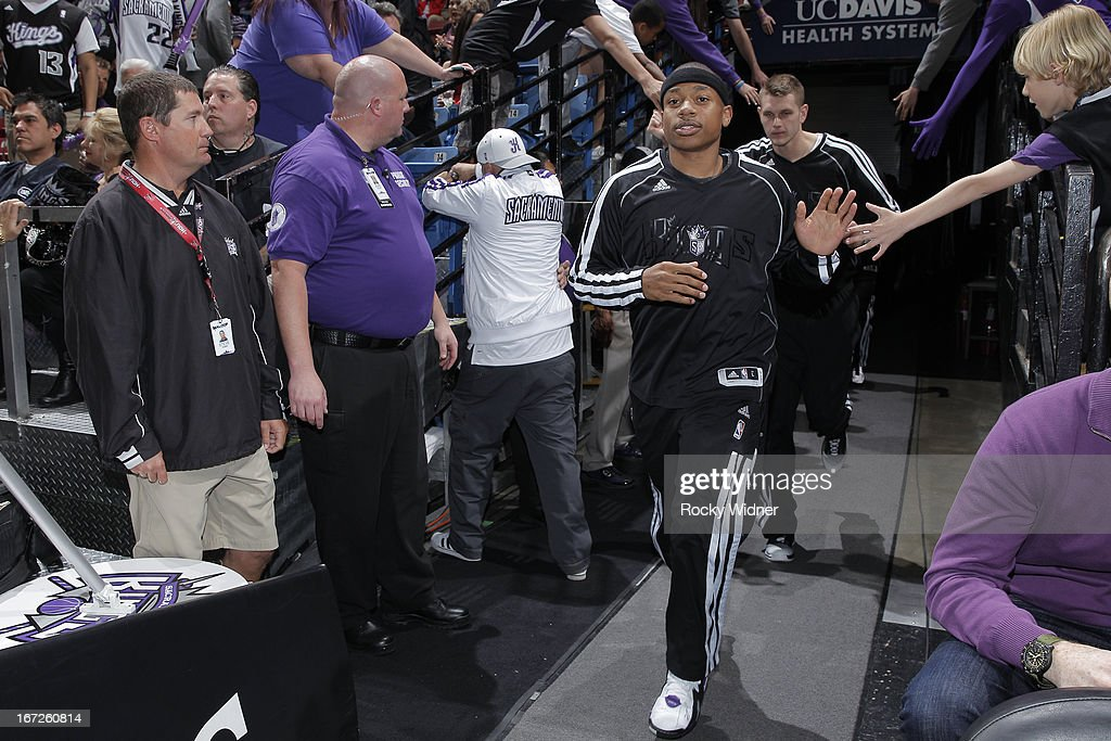Isaiah Thomas #22 of the Sacramento Kings heads out of the tunnel prior to the game against the Los Angeles Clippers on April 17, 2013 at Sleep Train Arena in Sacramento, California.