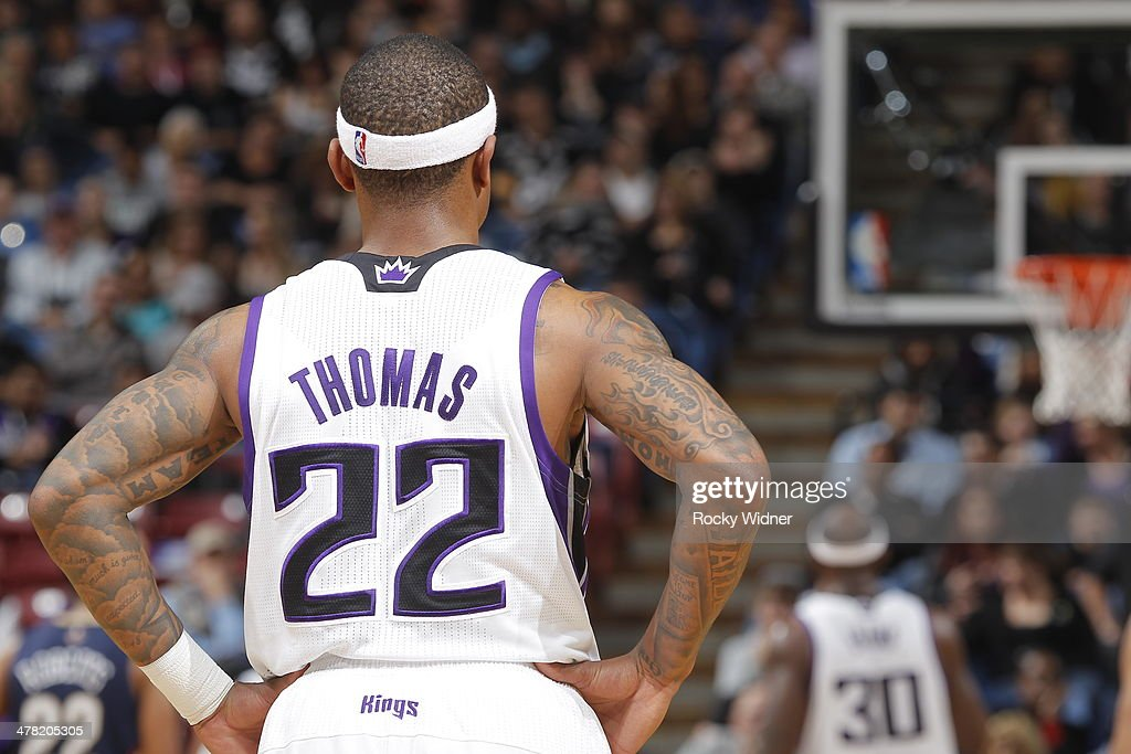 Isaiah Thomas #22 of the Sacramento Kings in a game against the New Orleans Pelicans on March 3, 2014 at Sleep Train Arena in Sacramento, California.
