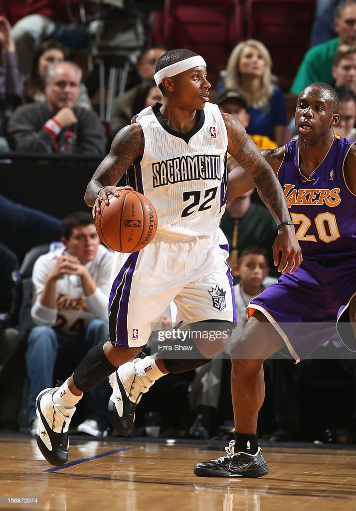 Isaiah Thomas #22 of the Sacramento Kings in action against the Los Angeles Lakers at Power Balance Pavilion on November 21, 2012 in Sacramento, California.