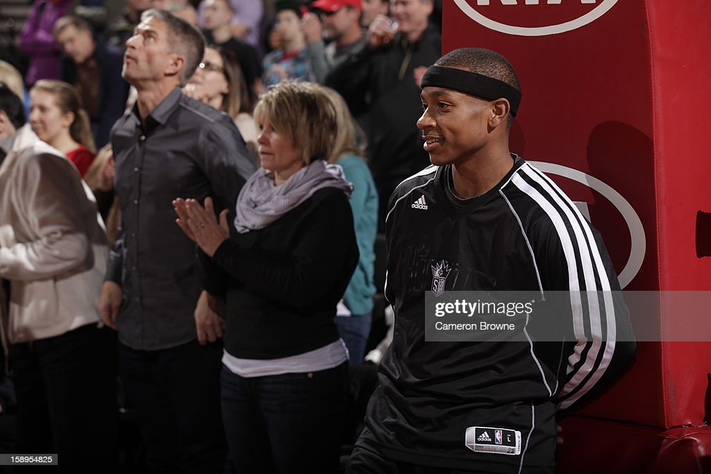 Isaiah Thomas #22 of the Sacramento Kings looks on before the game against the Portland Trail Blazers on December 26, 2012 at the Rose Garden Arena in Portland, Oregon.