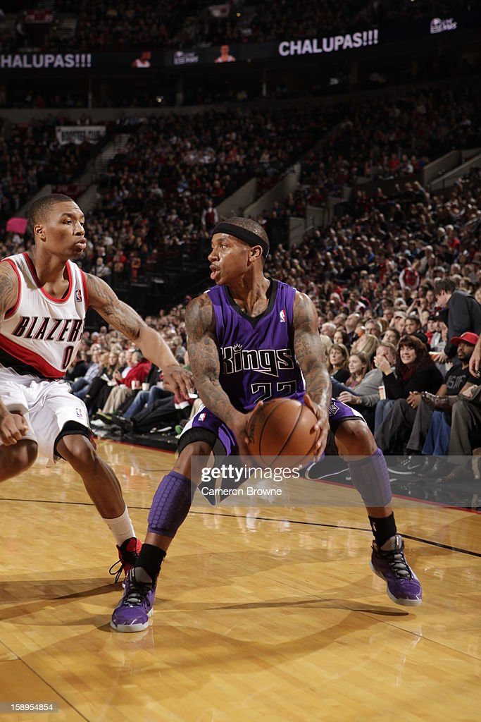 Isaiah Thomas #22 of the Sacramento Kings looks to drive to the basket against the Portland Trail Blazers on December 26, 2012 at the Rose Garden Arena in Portland, Oregon.