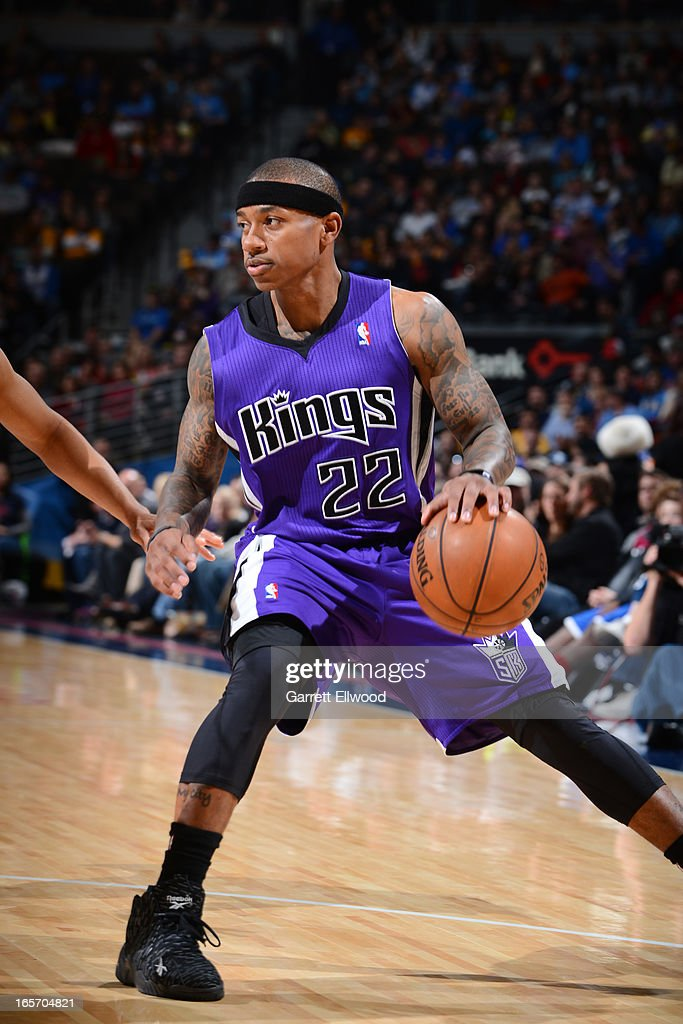 Isaiah Thomas #22 of the Sacramento Kings looks to drive to the basket against the Denver Nuggets on March 23, 2012 at the Pepsi Center in Denver, Colorado.