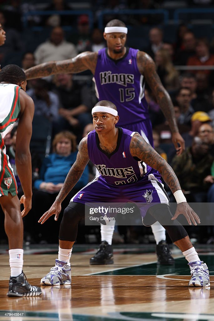 Isaiah Thomas #22 of the Sacramento Kings on defense against the Milwaukee Bucks on March 5, 2014 at the BMO Harris Bradley Center in Milwaukee, Wisconsin.