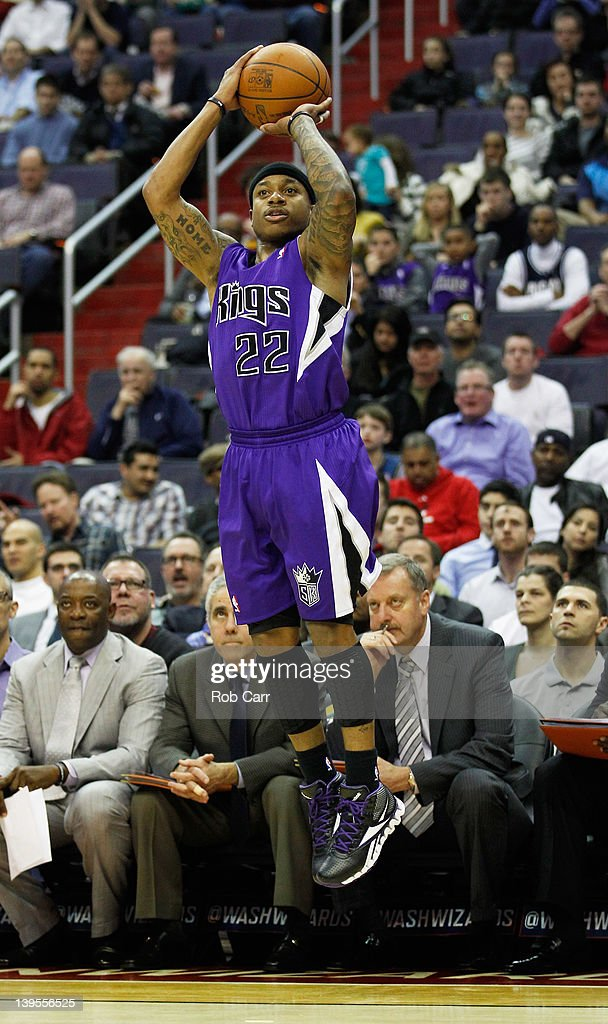 Isaiah Thomas #22 of the Sacramento Kings puts up a shot against the Washington Wizards during the first half at Verizon Center on February 22, 2012 in Washington, DC.