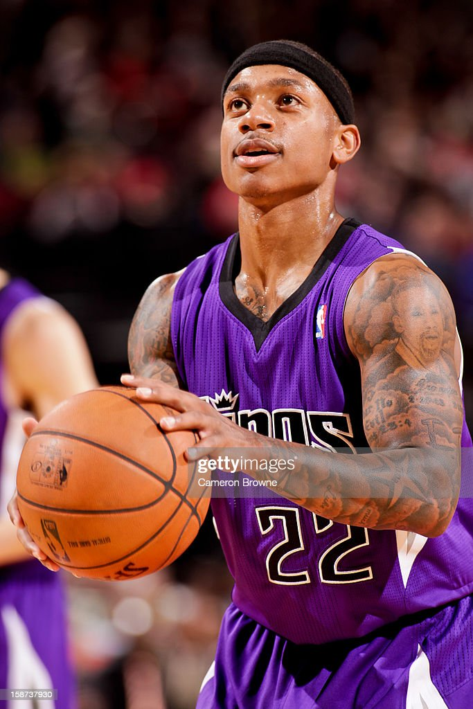 Isaiah Thomas #22 of the Sacramento Kings shoots a free-throw against the Portland Trail Blazers on December 26, 2012 at the Rose Garden Arena in Portland, Oregon.