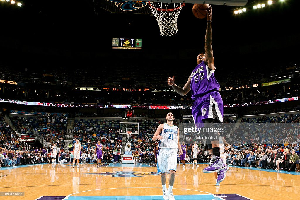 Isaiah Thomas #22 of the Sacramento Kings shoots a layup on a fast break against the New Orleans Hornets on February 24, 2013 at the New Orleans Arena in New Orleans, Louisiana.