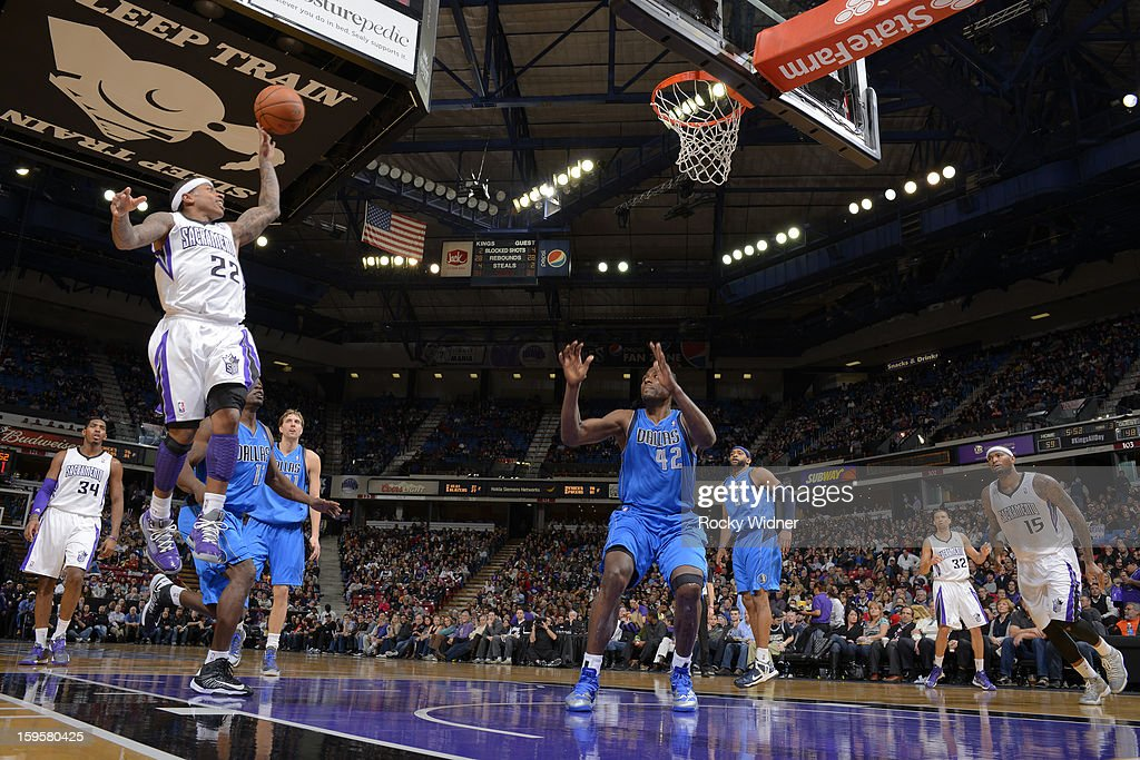Isaiah Thomas #22 of the Sacramento Kings shoots against <a gi-track='captionPersonalityLinkClicked' href=/galleries/search?phrase=Elton+Brand&family=editorial&specificpeople=201501 ng-click='$event.stopPropagation()'>Elton Brand</a> #42 of the Dallas Mavericks on January 10, 2013 at Sleep Train Arena in Sacramento, California.