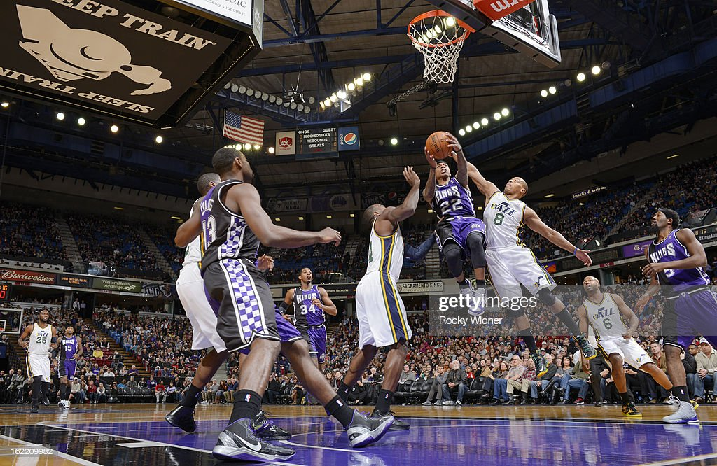 Isaiah Thomas #22 of the Sacramento Kings shoots against <a gi-track='captionPersonalityLinkClicked' href=/galleries/search?phrase=Randy+Foye&family=editorial&specificpeople=240185 ng-click='$event.stopPropagation()'>Randy Foye</a> #8 of the Utah Jazz on February 9, 2013 at Sleep Train Arena in Sacramento, California.