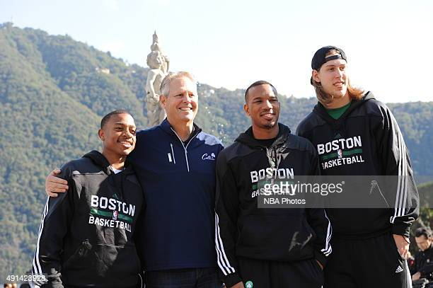 Isaiah Thomas President of Basketball Operations Danny Ainge Avery Bradley and Kelly Olynyk of the Boston Celtics pose for a portrait during the 2015...