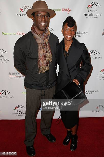 Isaiah Washington and guest arrive at the 5th Annual Los Angeles Unbridled Eve Derby Prelude Party at The London West Hollywood on January 9 2014 in...