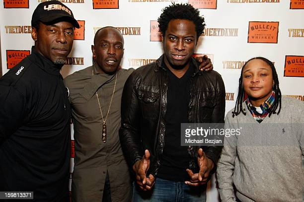 Isaiah Washington Michael Kenneth Williams Jeymes Samuel and Felicia Pearson stars of 'They Die By Dawn' pose at the Bulleit Bourbon preview party...