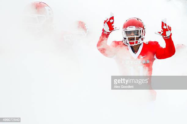 Isaiah Wharton of the Rutgers Scarlet Knights exits the tunnel before a game against the Maryland Terrapins at High Point Solutions Stadium on...