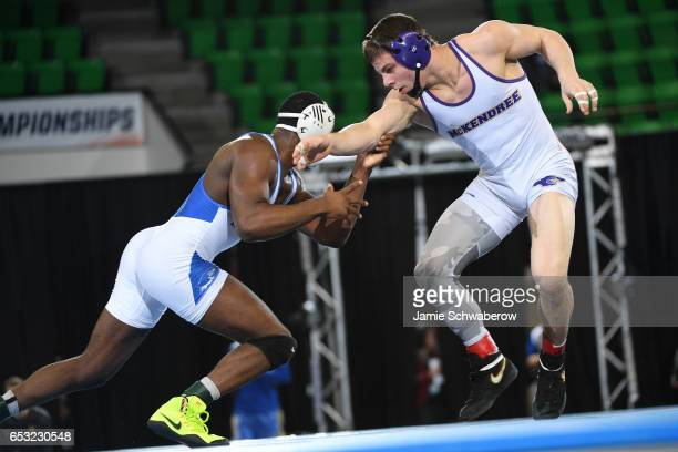 Isaiah White of Notre Dame College takes on Brock Wingbermuehle of McKendree in the 165 lb weight class during the Division II Men's Wrestling...