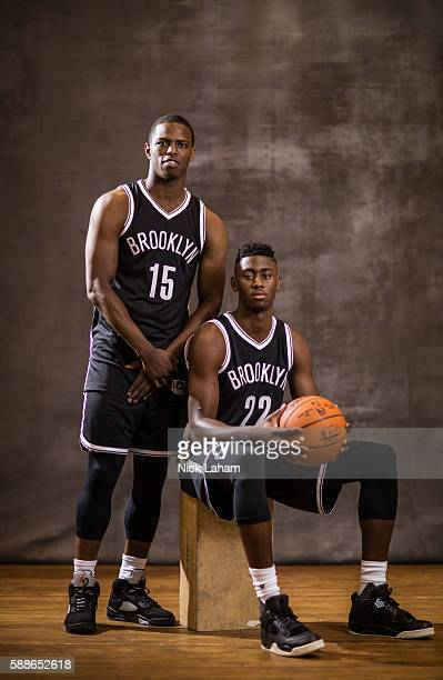 Isaiah Whitehead and Caris Levert of the Brooklyn Nets pose for a portrait during the 2016 NBA Rookie Photoshoot at Madison Square Garden Training...