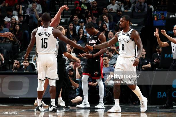 Isaiah Whitehead and Spencer Dinwiddie of the Brooklyn Nets during the game against the Miami Heat during a preseason game on October 5 2017 at...