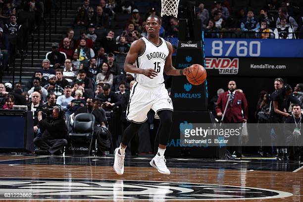 Isaiah Whitehead of the Brooklyn Nets brings the ball up court against the Philadelphia 76ers during the game on January 8 2017 at Barclays Center in...