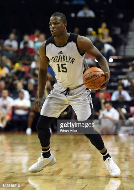 Isaiah Whitehead of the Brooklyn Nets brings the ball up the court against the Los Angeles Lakers during the 2017 Summer League at the Thomas Mack...