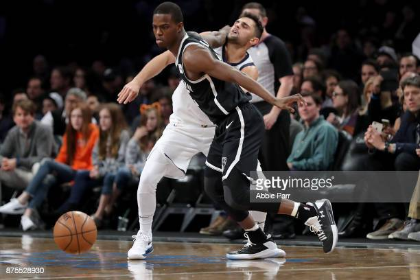 Isaiah Whitehead of the Brooklyn Nets chases after the ball against Raul Neto of the Utah Jazz in the second half during their game at Barclays...