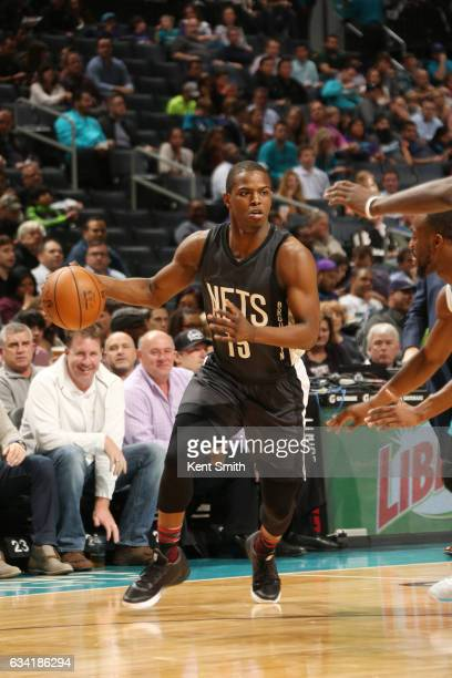 Isaiah Whitehead of the Brooklyn Nets drives to the basket against the Charlotte Hornets during the game on February 7 2017 at Spectrum Center in...
