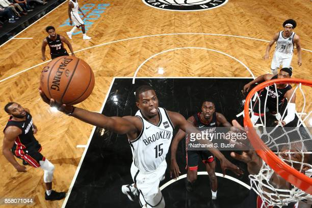 Isaiah Whitehead of the Brooklyn Nets goes for a lay up during the game against the Miami Heat during a preseason game on October 5 2017 at Barclays...