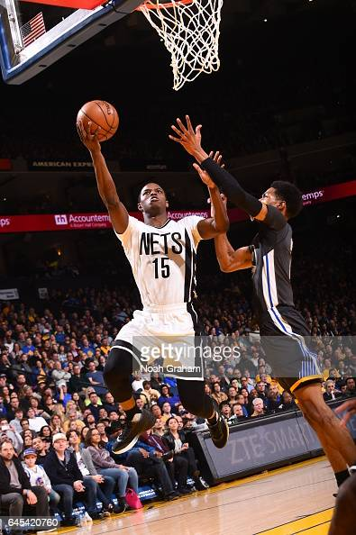 Isaiah Whitehead of the Brooklyn Nets goes to the basket against the Golden State Warriors on February 25 2017 at ORACLE Arena in Oakland California...