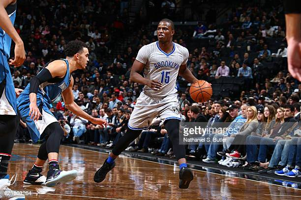 Isaiah Whitehead of the Brooklyn Nets handles the ball against the Minnesota Timberwolves on November 8 2016 at Barclays Center in Brooklyn New York...