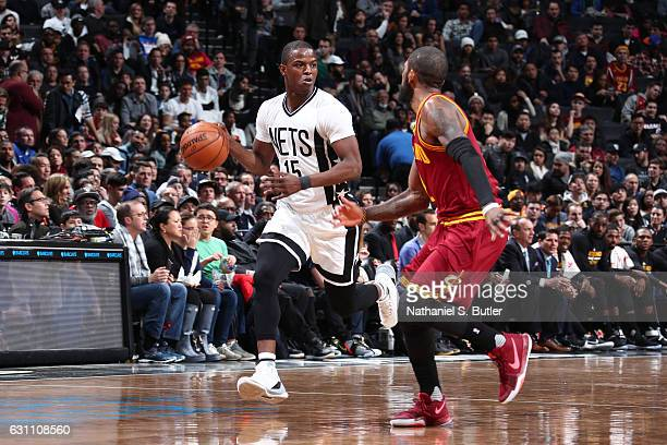 Isaiah Whitehead of the Brooklyn Nets handles the ball against the Cleveland Cavaliers on January 6 2017 at Barclays Center in Brooklyn New York NOTE...