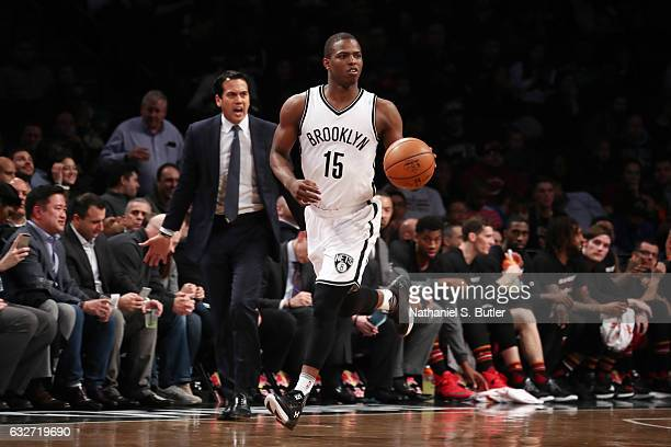 Isaiah Whitehead of the Brooklyn Nets handles the ball against the Miami Heat on January 25 2017 at Barclays Center in Brooklyn New York NOTE TO USER...
