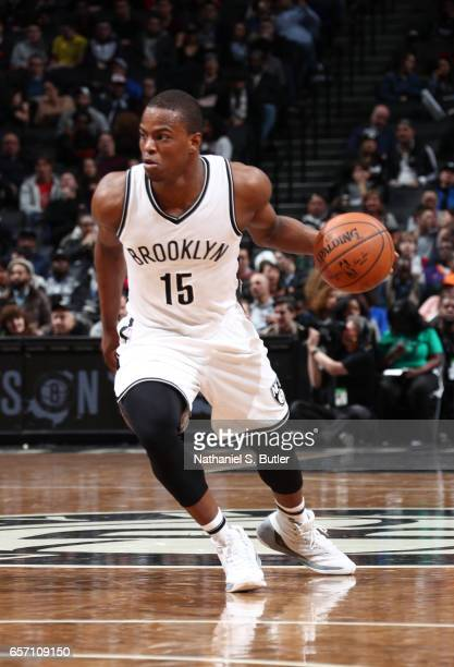 Isaiah Whitehead of the Brooklyn Nets handles the ball against the Phoenix Suns during the game on March 23 2017 at Barclays Center in Brooklyn New...