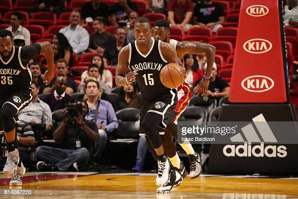 Isaiah Whitehead of the Brooklyn Nets handles the ball during a preseason game against the Miami Heat on October 11 2016 at American Airlines Arena...